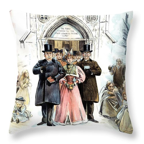 1895 Throw Pillow featuring the photograph Slum Landlords, 1895 by Granger