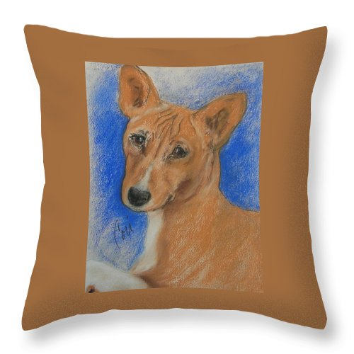 Dog Throw Pillow featuring the drawing Small And Mighty by Cori Solomon