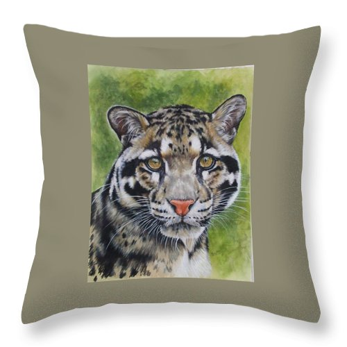 Clouded Leopard Throw Pillow featuring the mixed media Small But Powerful by Barbara Keith