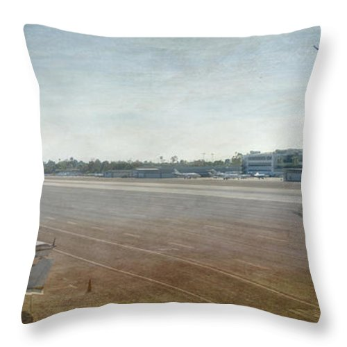 City Airport Throw Pillow featuring the photograph Small City Airport Plane Taking Off Runway by David Zanzinger