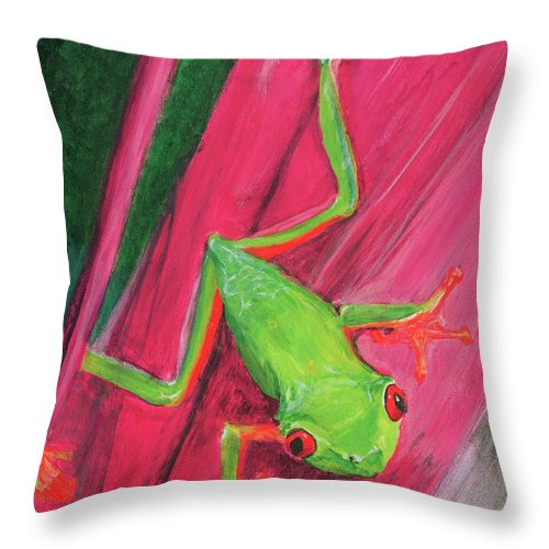 Frog Throw Pillow featuring the painting Small Frog by Terry Lewey