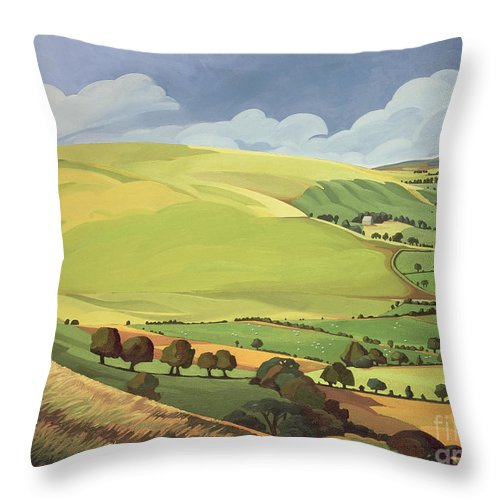 Welsh Landscape; Field; Fields; Country; Countryside; Rural; Rolling Hills; Valleys; Hill; Tree; Trees; Grass; Green; Sky; Landscape Throw Pillow featuring the painting Small Green Valley by Anna Teasdale