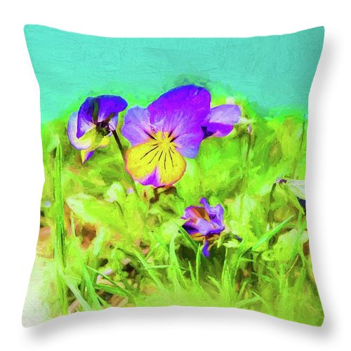 Flowers & Plants Throw Pillow featuring the digital art Small Group Of Violets by Rusty R Smith