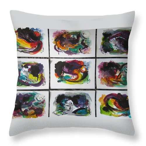 Abstract Paintings Throw Pillow featuring the painting Small Landscape4 by Seon-Jeong Kim