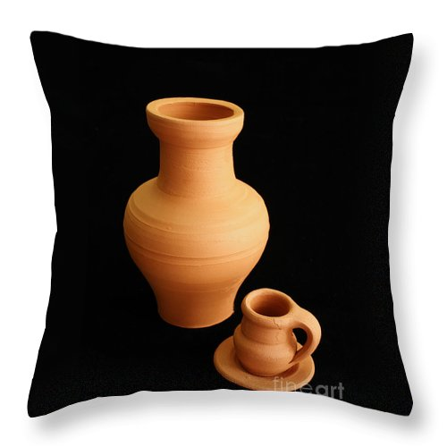 Ceramics Throw Pillow featuring the photograph Small Pottery Items by Gaspar Avila