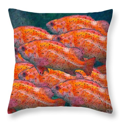 Fish Throw Pillow featuring the digital art Small School by Ron Bissett