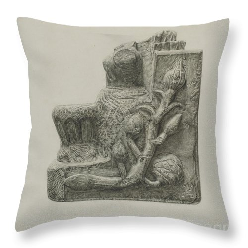 Throw Pillow featuring the drawing Small Stone Fountain by Ursula Lauderdale