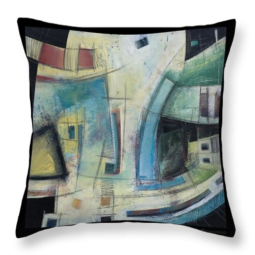 Abstract Throw Pillow featuring the painting Small Town Blues by Tim Nyberg
