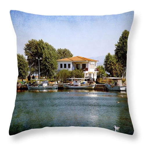 Landscape Throw Pillow featuring the photograph Small Town In Greece by Milena Ilieva
