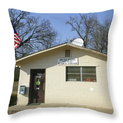 Small Throw Pillow featuring the photograph Small Town Post Office by Nina Fosdick