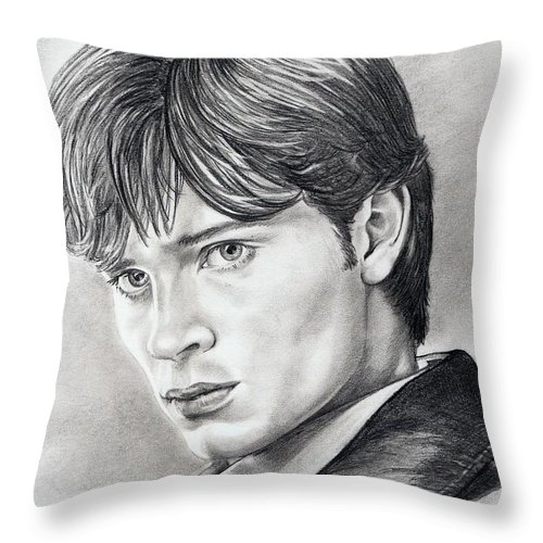 Superman Throw Pillow featuring the drawing Smallville Tom Welling by Murphy Elliott