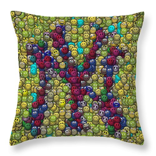 Ny Throw Pillow featuring the digital art Smiley Face Yankees Mosaic by Paul Van Scott