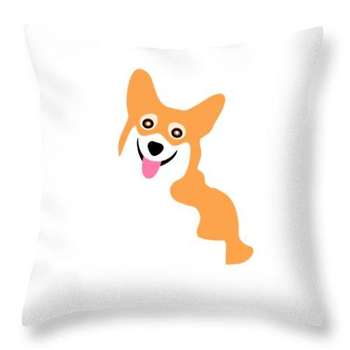 Corgi Throw Pillow featuring the digital art Smiling Corgi Pup by Antique Images