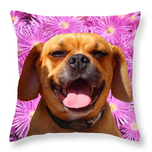Animal Throw Pillow featuring the painting Smiling Pug by Amy Vangsgard