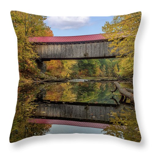 New Hampshire Throw Pillow featuring the mixed media Smith Bridge by Capt Gerry Hare