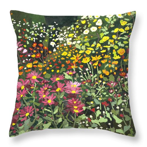 Floral Throw Pillow featuring the painting Smith Mums by Leah Tomaino