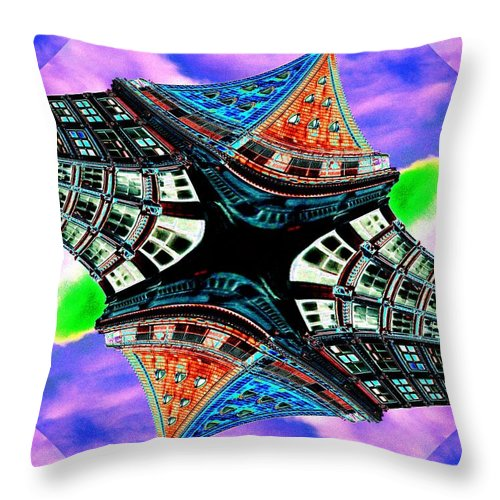Seattle Throw Pillow featuring the digital art Smith Tower Fractal by Tim Allen