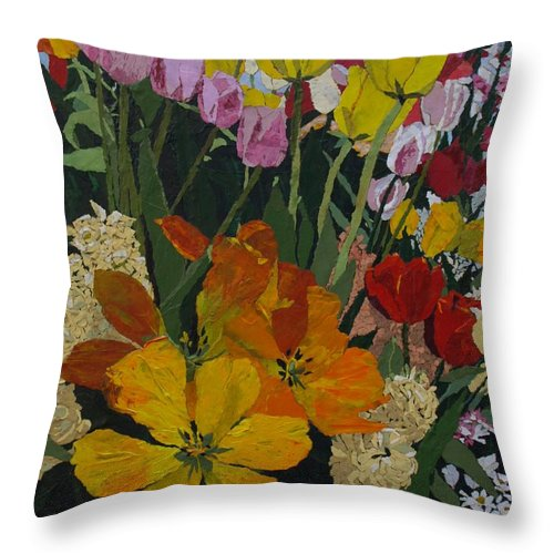 Floral Throw Pillow featuring the painting Smith's Bulb Show by Leah Tomaino