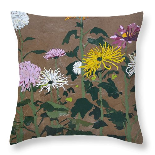 Collage Throw Pillow featuring the painting Smith's Giant Chrysanthemums by Leah Tomaino
