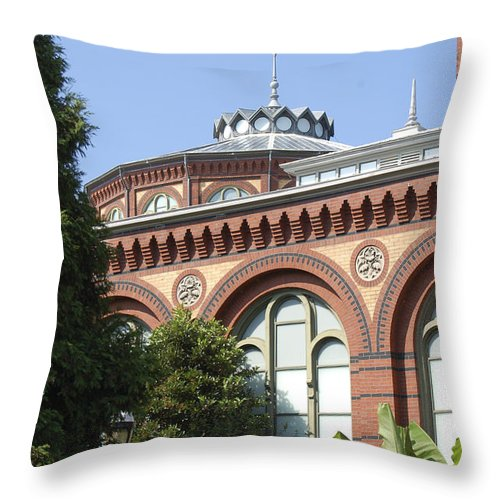 Smithsonian Throw Pillow featuring the photograph Smithsonian Arches by Faith Harron Boudreau
