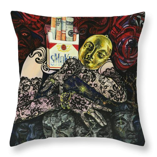 Surreal Throw Pillow featuring the painting Smoke And Lace by Yelena Tylkina