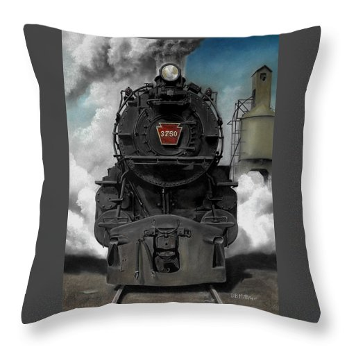 Trains Throw Pillow featuring the painting Smoke And Steam by David Mittner