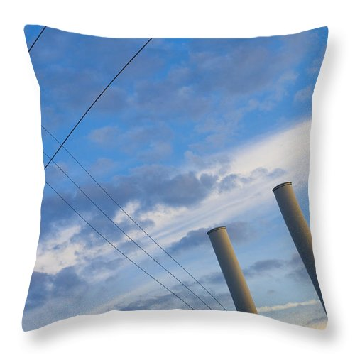 Blue Throw Pillow featuring the photograph Smoke Stax by Skip Hunt