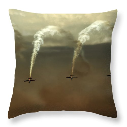 Blades Extra 300 Throw Pillow featuring the photograph Smoke Waterfall by Angel Ciesniarska