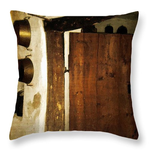 Antiques Throw Pillow featuring the painting Smokehouse At The Old Farm by RC DeWinter