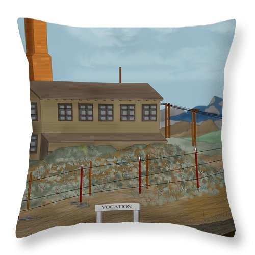 Camp Vocation Throw Pillow featuring the painting Smokestack And Heart Mountain At Camp Vocation by Anne Norskog