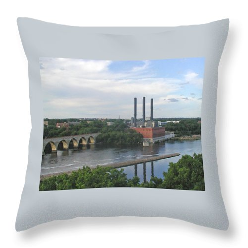 Minneapolis Throw Pillow featuring the photograph Smokestacks On The Mississippi by Tom Reynen