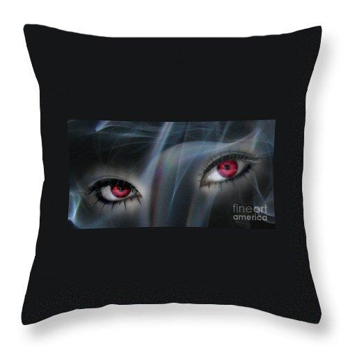 Eyes Throw Pillow featuring the digital art Smokey Eyes by Serena Ballard