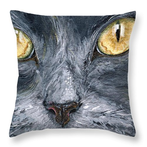Charity Throw Pillow featuring the painting Smokey by Mary-Lee Sanders