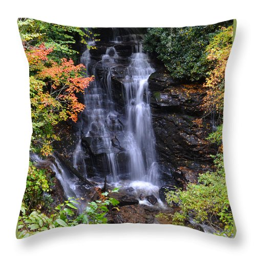 Waterfall Throw Pillow featuring the photograph Smokey Mountain Waterfall by James Fowler