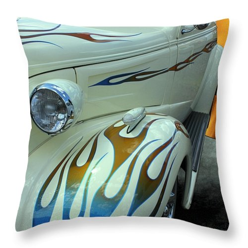 1938 Throw Pillow featuring the photograph Smokin' Hot - 1938 Chevy Coupe by Betty Northcutt