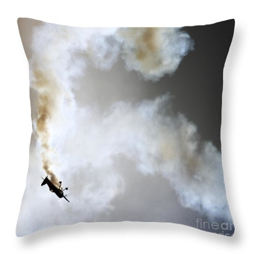 Airshow Throw Pillow featuring the photograph Smoking by Angel Ciesniarska