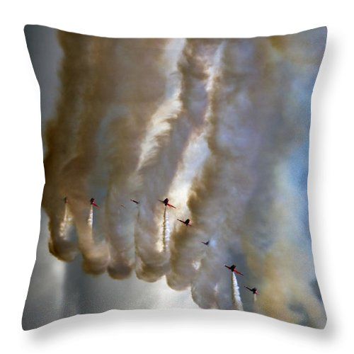 Red Arrows Throw Pillow featuring the photograph Smoking Nine by Angel Ciesniarska