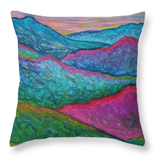 Oil Pastels Throw Pillow featuring the painting Smoky Mountain Abstract by Nancy Mueller