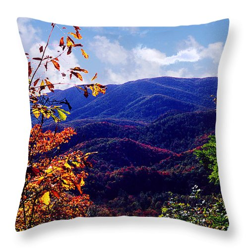 Mountain Throw Pillow featuring the photograph Smoky Mountain Autumn View by Nancy Mueller