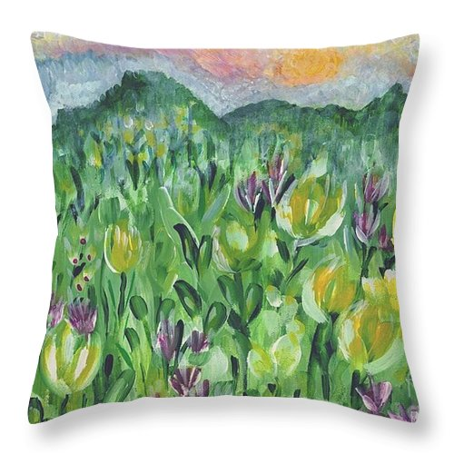 Mountains Throw Pillow featuring the painting Smoky Mountain Dreamin by Holly Carmichael