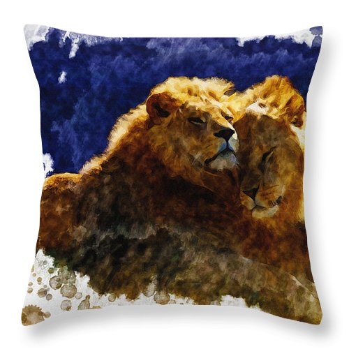 Art & Collectibles Throw Pillow featuring the digital art Smooching Lions by Don Kuing