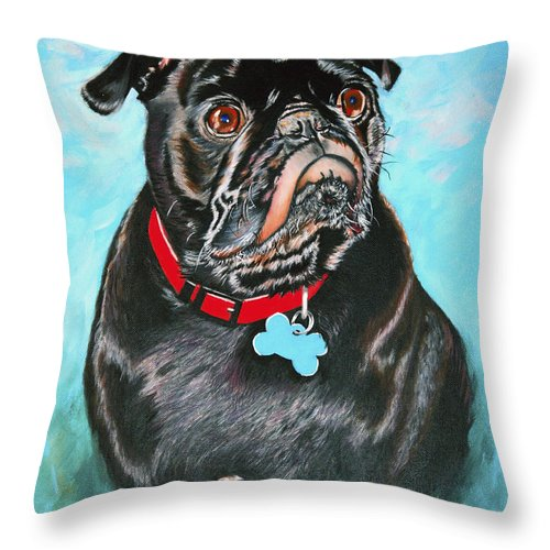 Dog Throw Pillow featuring the painting Smug Black Pug by Donna Proctor