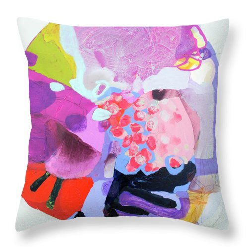 Abstract Throw Pillow featuring the painting Smug by Claire Desjardins
