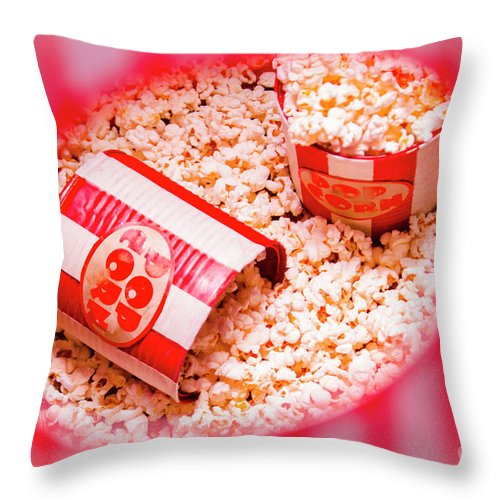 Entertainment Throw Pillow featuring the photograph Snack Bar Pop Corn by Jorgo Photography - Wall Art Gallery