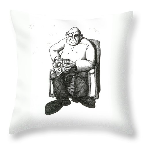 Buddha Throw Pillow featuring the drawing Snacks by Tobey Anderson