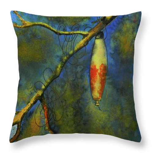 Fishing Throw Pillow featuring the painting Snagged by Virginia Craig