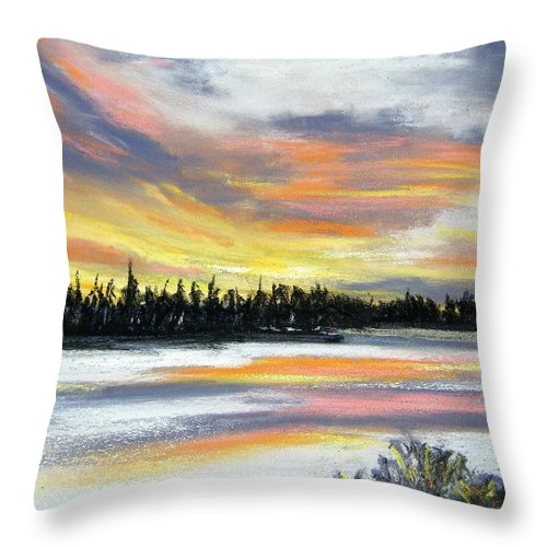 Sunset Throw Pillow featuring the pastel Snake River Sunset by Gale Cochran-Smith