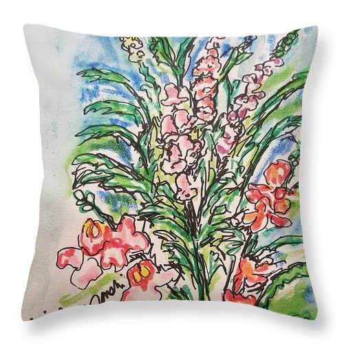 Snap Dragons Throw Pillow featuring the drawing Snap Dragons by Geraldine Myszenski