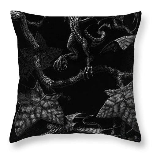 Dragon Throw Pillow featuring the drawing Snap Dragons by Stanley Morrison