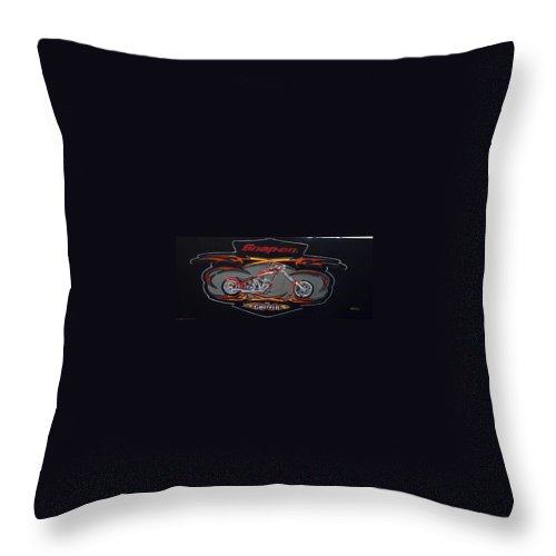 Bike Throw Pillow featuring the painting Snap-on Chopper by Richard Le Page